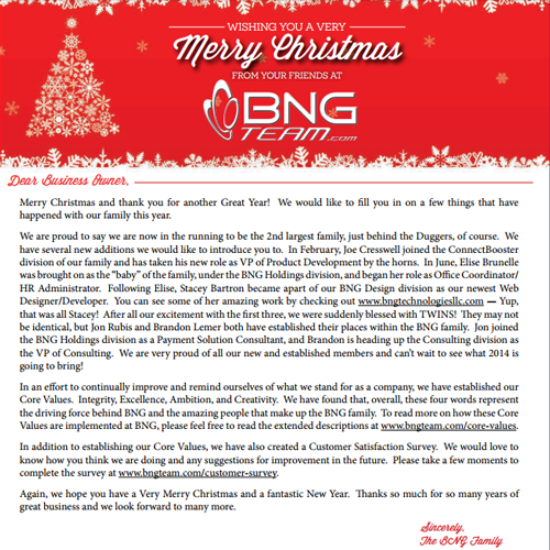 Holiday 2013 Newsletter