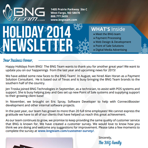 Holiday 2014 Newsletter