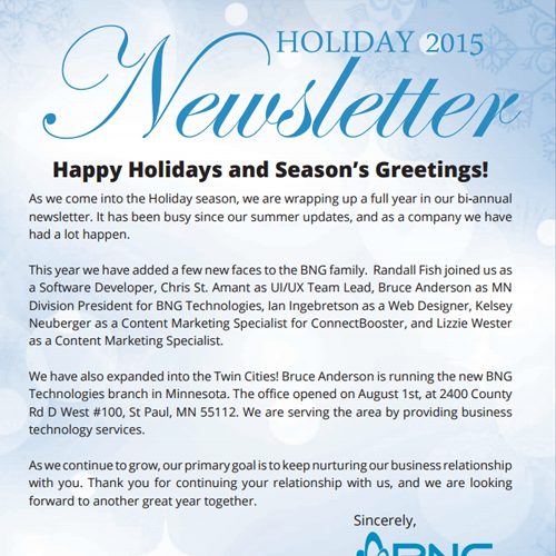 Holiday 2015 Newsletter